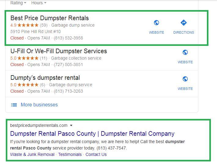 Best Price Dumpster Rentals Local rank