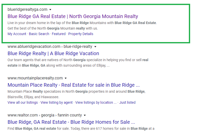 Blue Ridge Realty Local Rank