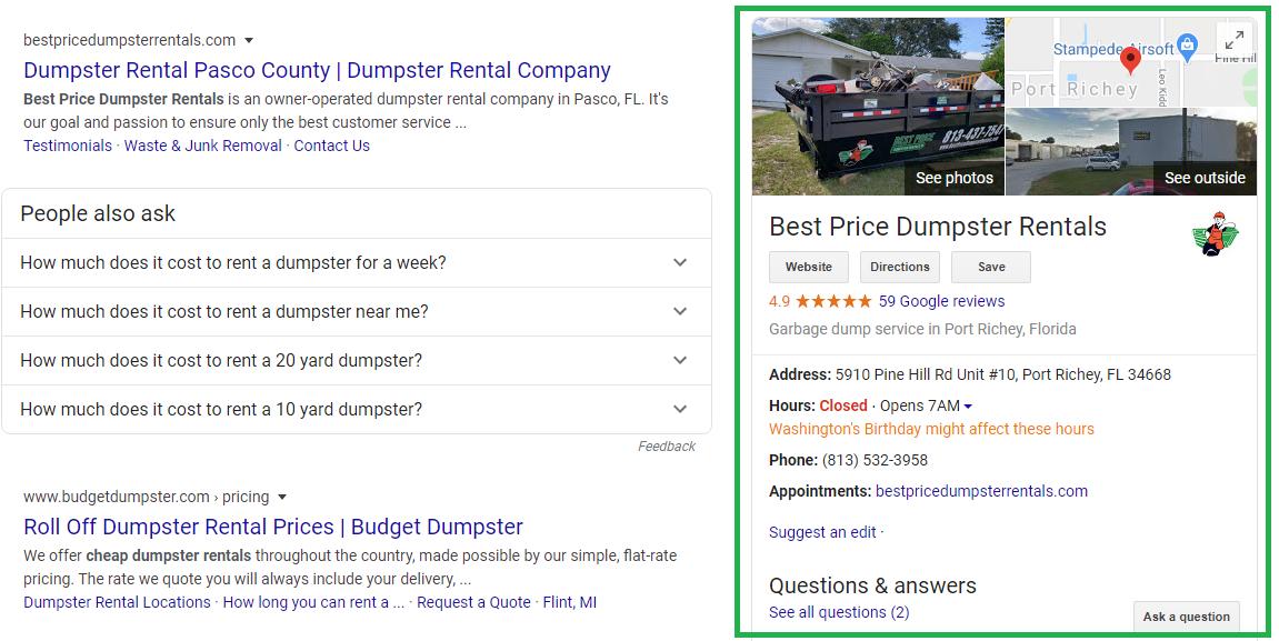 Best Price Dumpster Rentals GMB