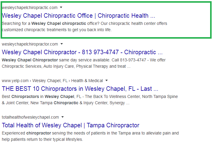 wesley chapel chiropractic Local Rank